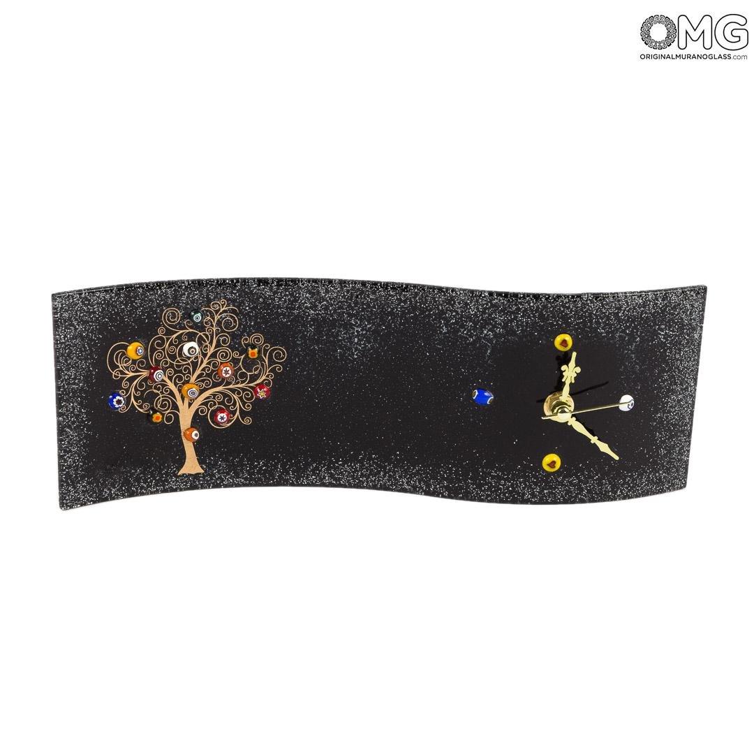 Настольные часы Древо Жизни - чёрные прямоугольные - Original Murano Glass OMG