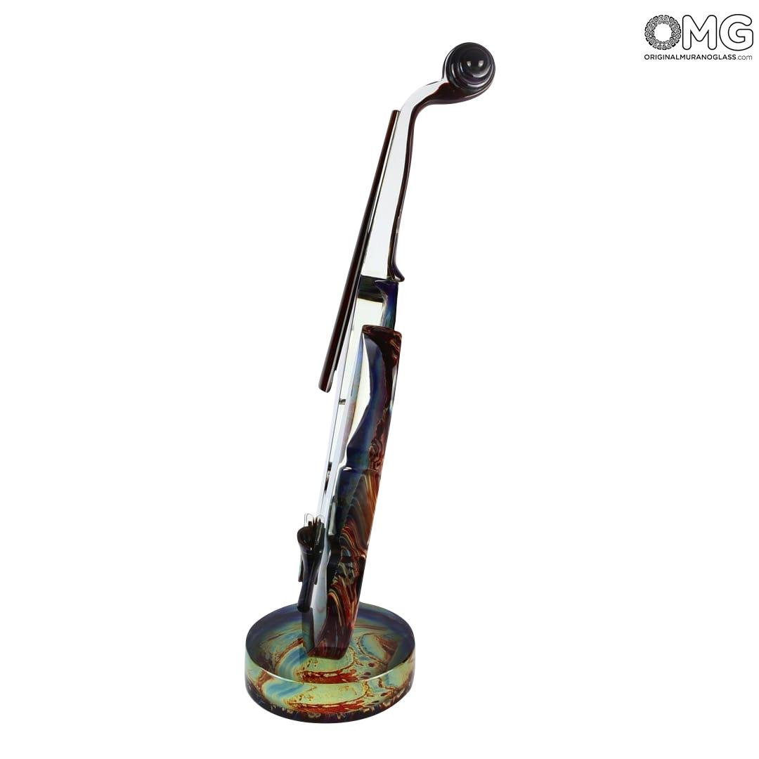 Glass Violin - sculpture in chalcedony glass - Original Murano Glass OMG