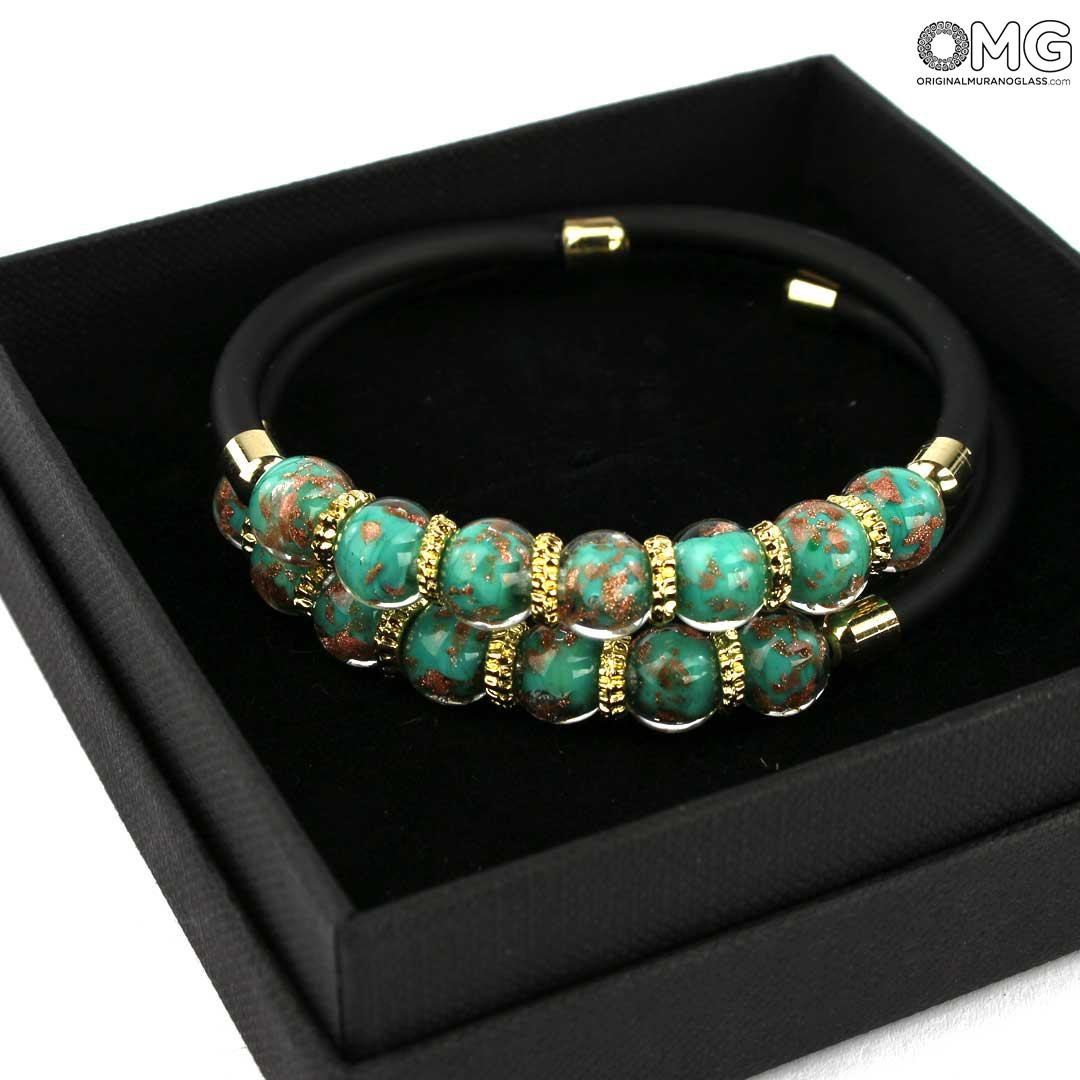 Bracelet Serena Double - Marine Green with Avventurina - Original Murano Glass OMG