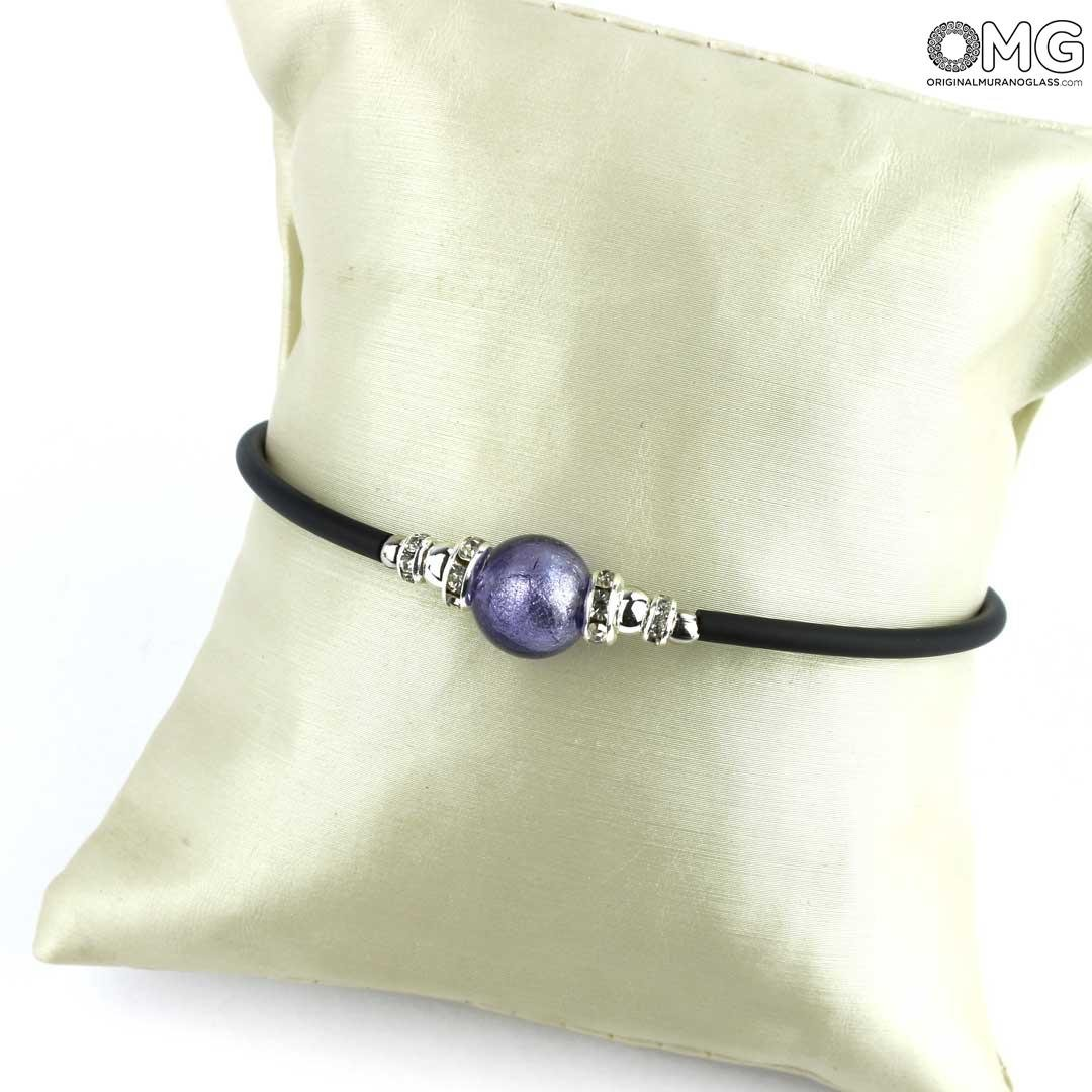 Bracelet Perla Purple - with Silver - Original Murano Glass OMG