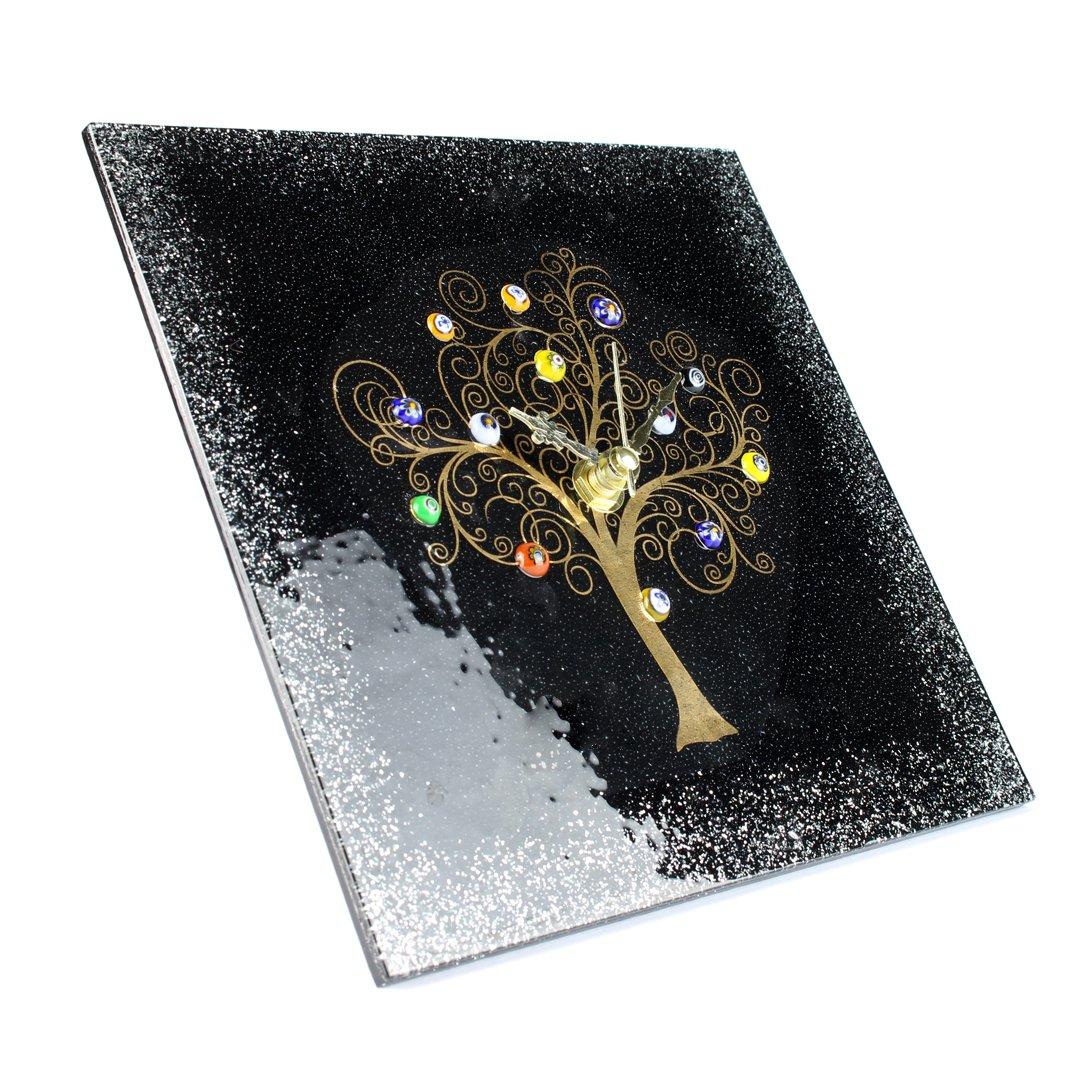 Настольные часы Древо Жизни - чёрные - Original Murano Glass OMG