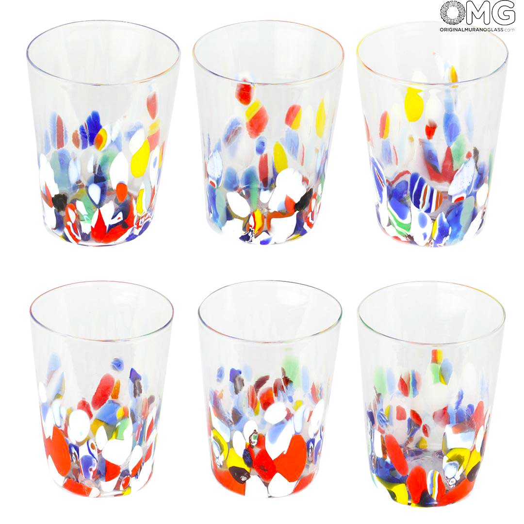Set of 6 Drinking glasses Wine and Water - Original Murano Glass