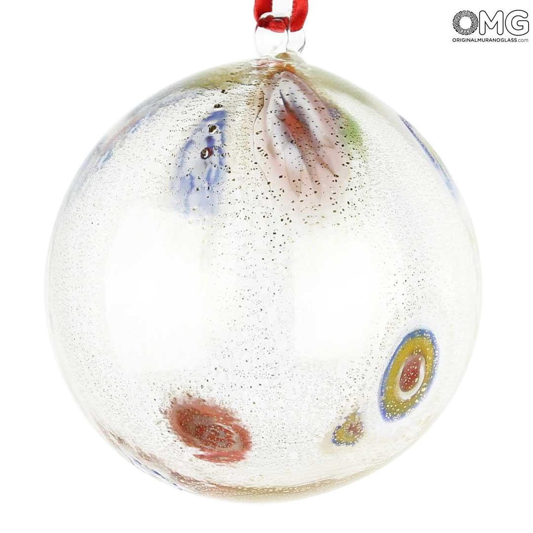 Christmas Ball - Transparent Millefiori Fantasy - Murano Glass Xmas