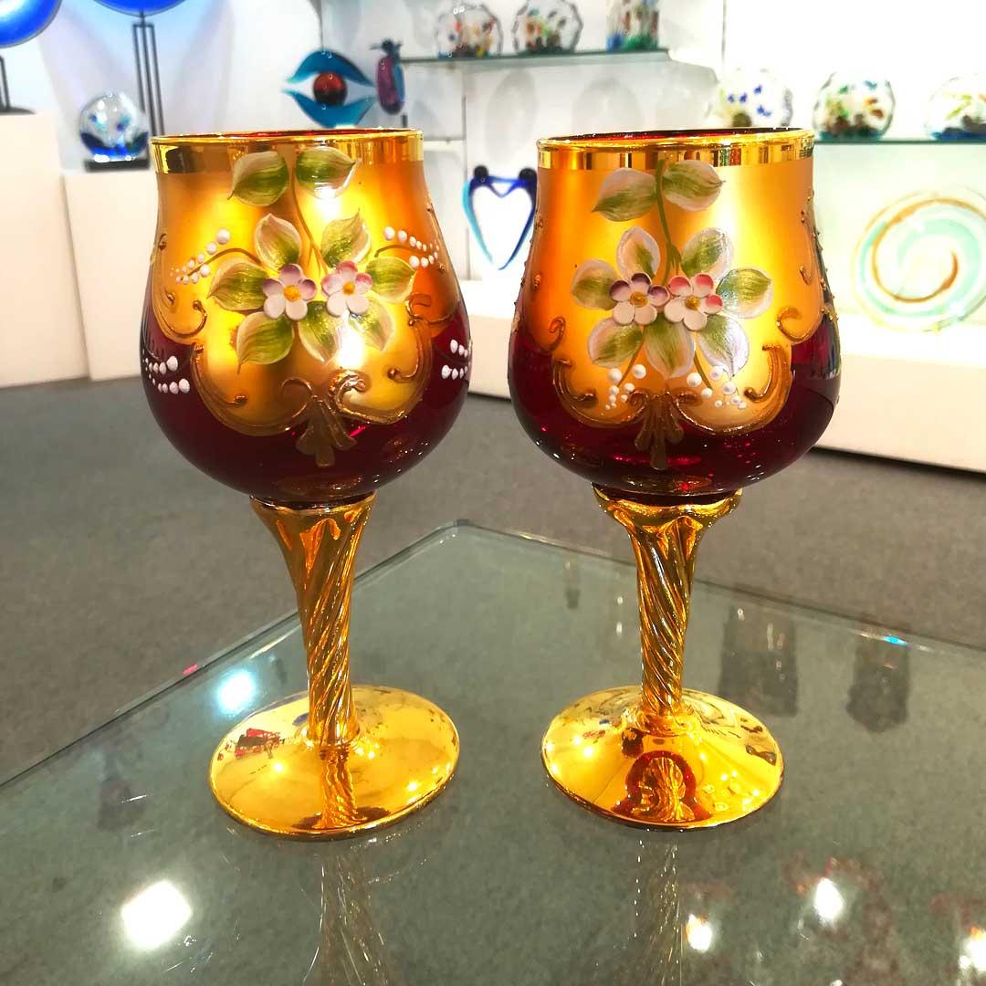 Набор из 2 красных бокалов Я&Ты - trefuochi - муранское стекло OMG