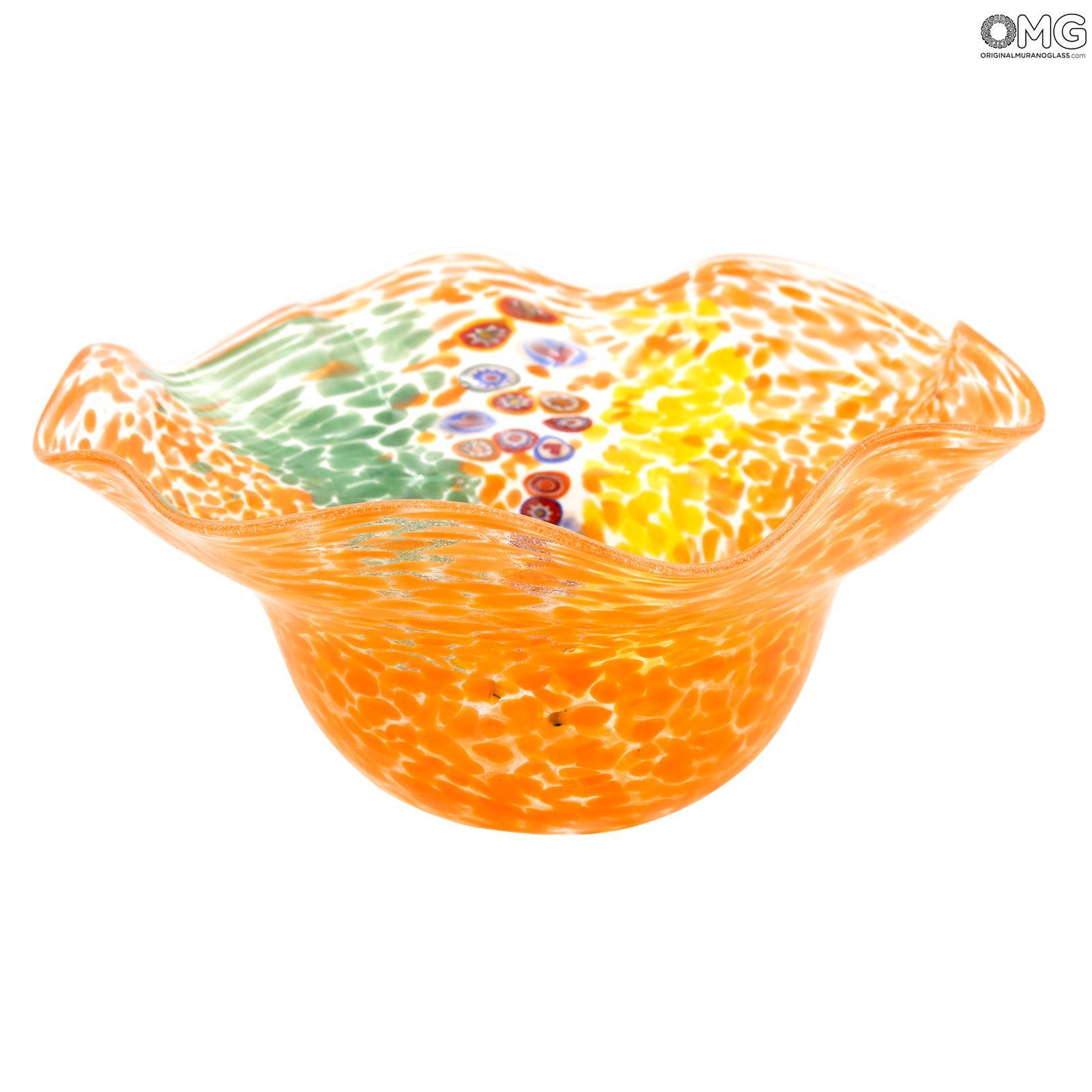 Bowl Centerpiece Rainbow - Orange - Original Murano Glass OMG
