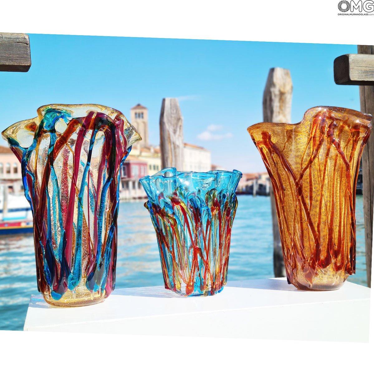 Amber Lava - Napkins Vase - Original Murano Glass