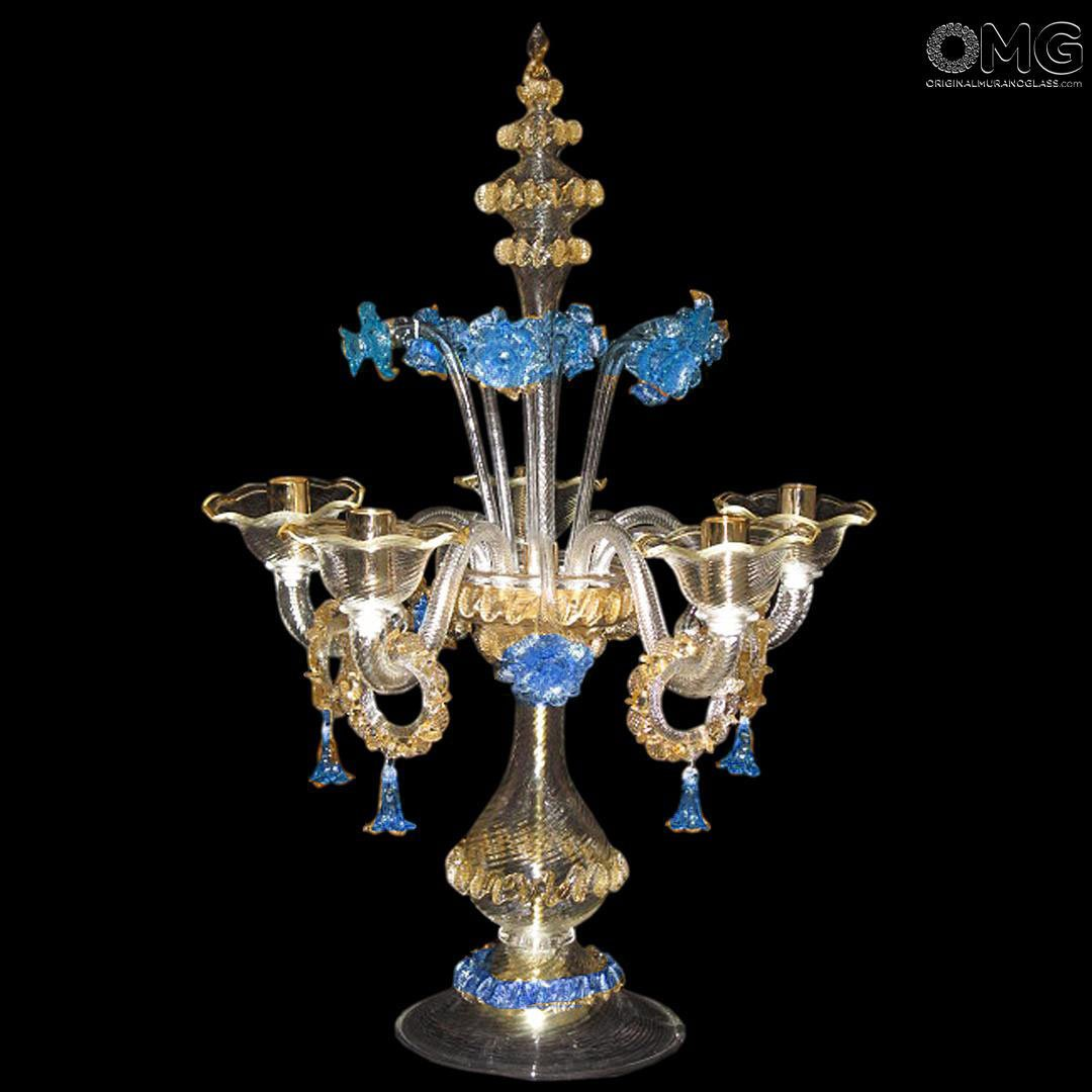 Table Lamp Flambeau - Blue Floral - Murano Glass - 5 light