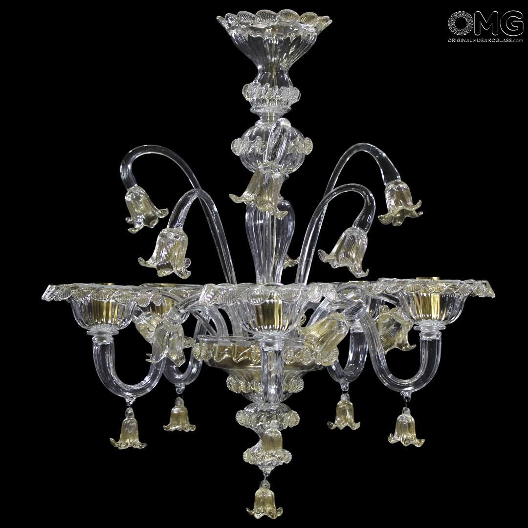Chandelier Gold Tulip - Floral - Murano Glass