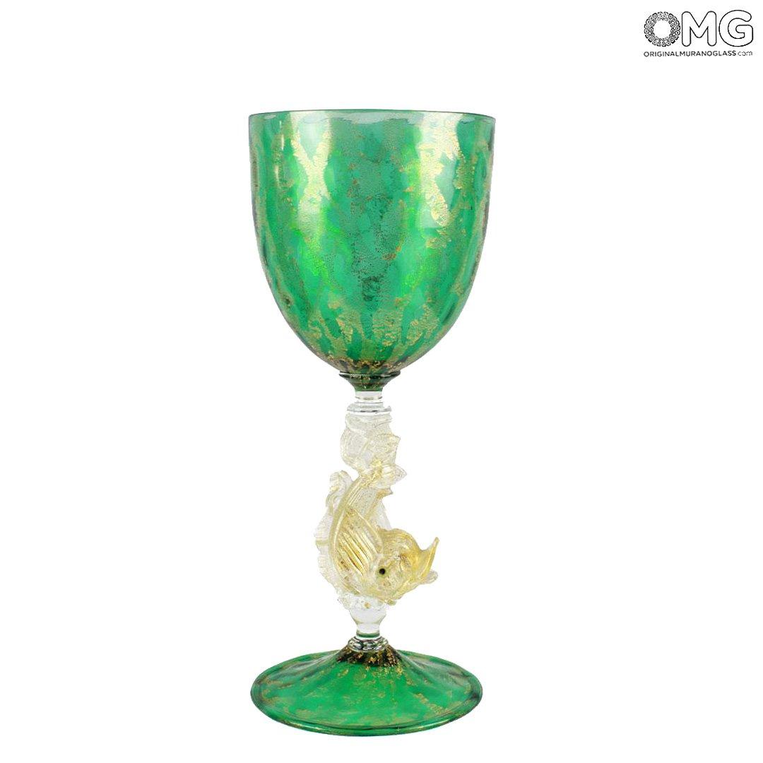 Venetian Goblet - Green Glass - Original Murano Glass OMG