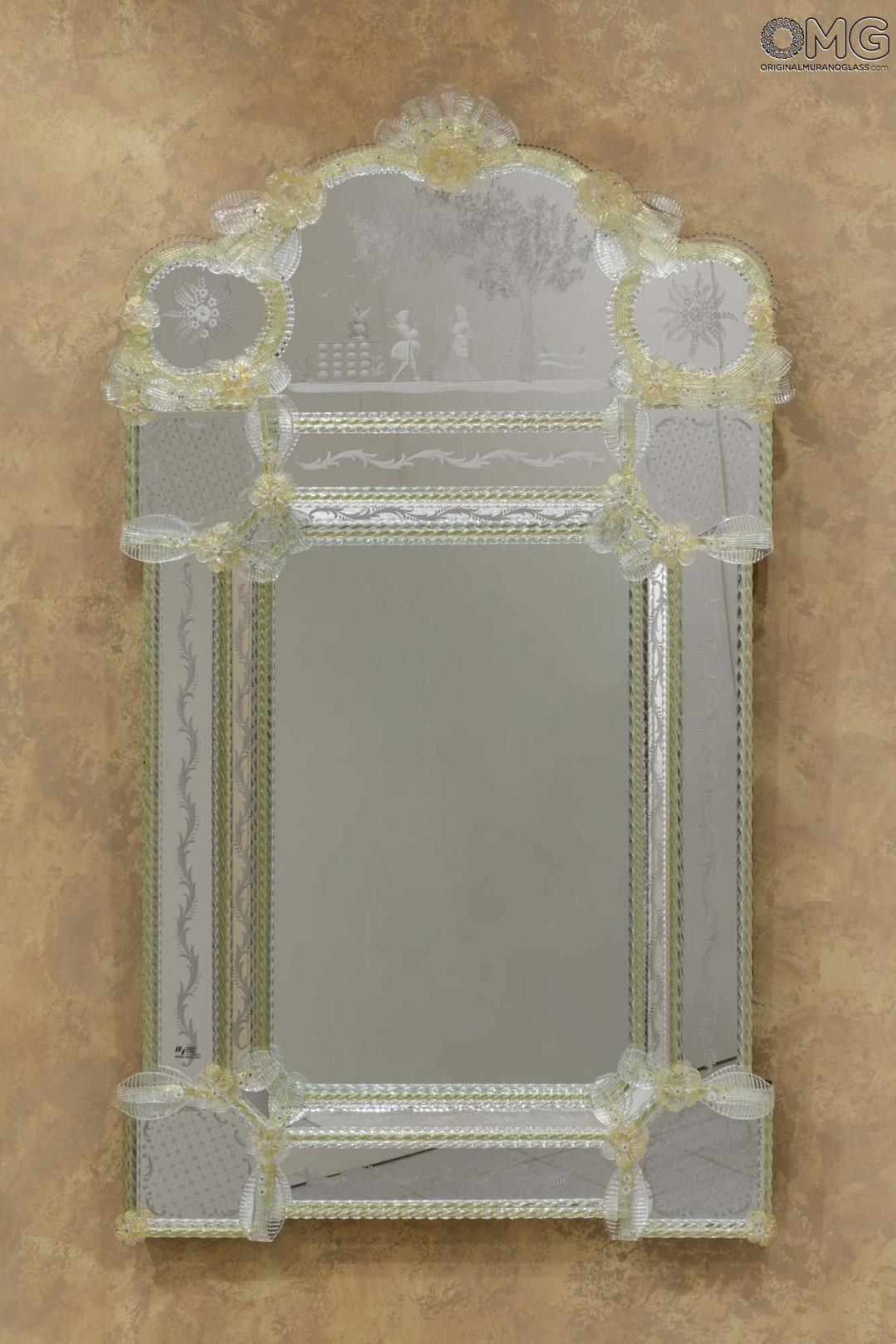 Amore - Wall Venetian Mirror - Murano Glass and Gold 24carats