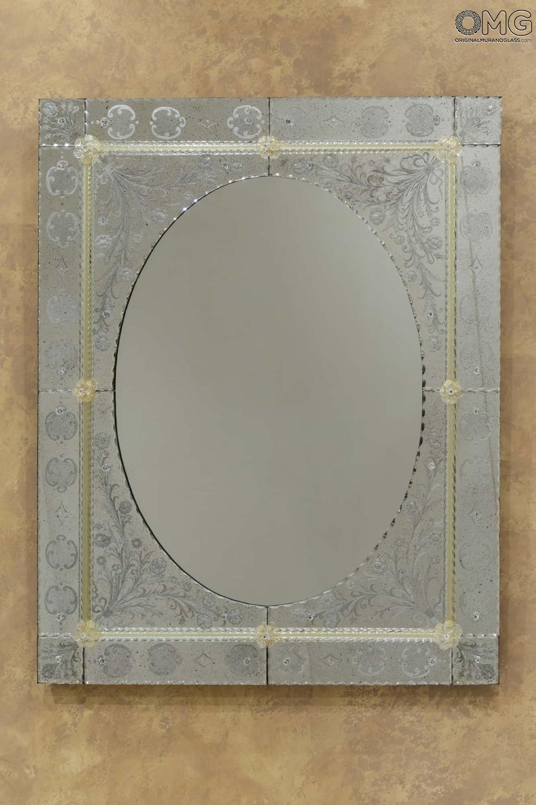 Spring - Wall Venetian Mirror - Engraved with Murano Glass and GOLD 24carats