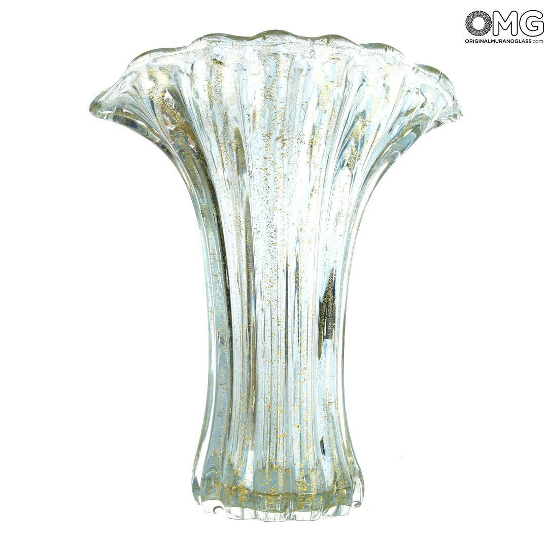 Flower Vase - Crystal & Gold - Original Murano Glass OMG