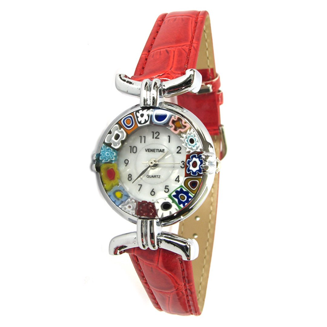 Wristwatch Millefiori - red strap chrome case - Original Murano glass OMG