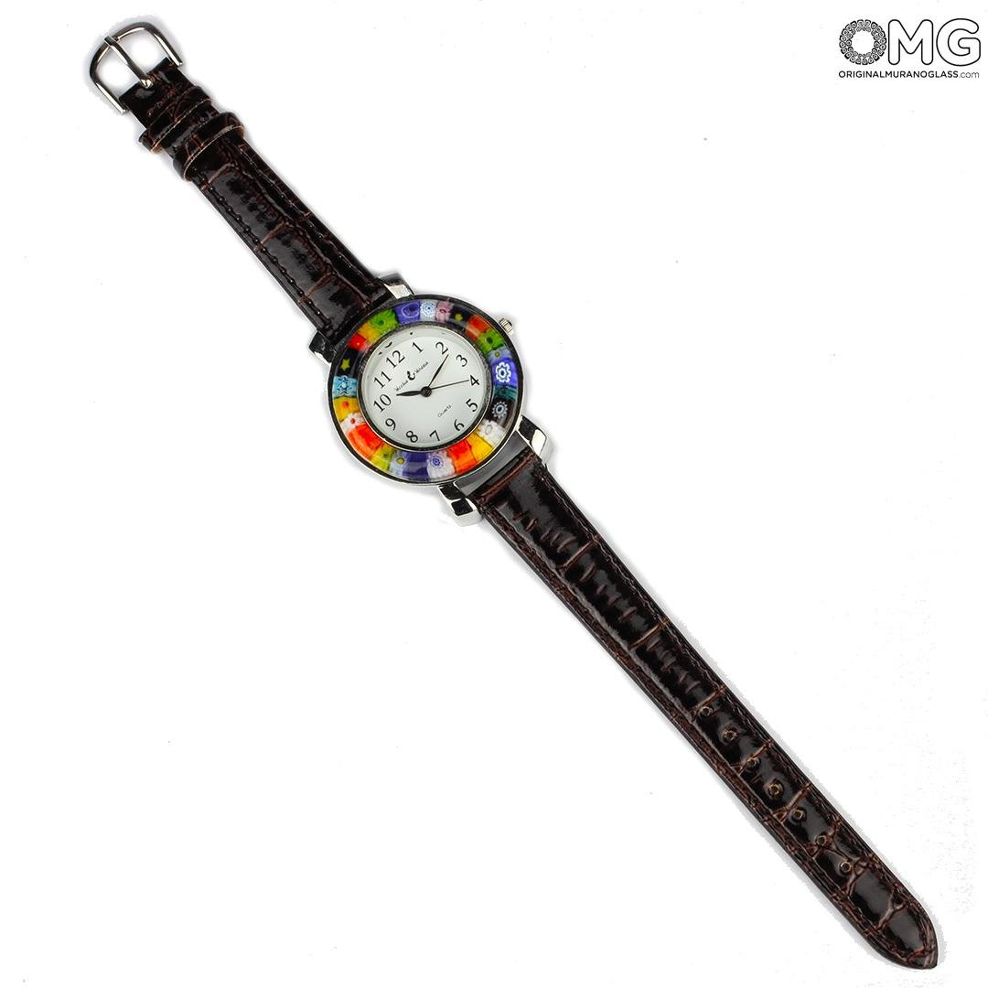 Unisex Watch - Black and Millefiori - Original Murano Glass OMG