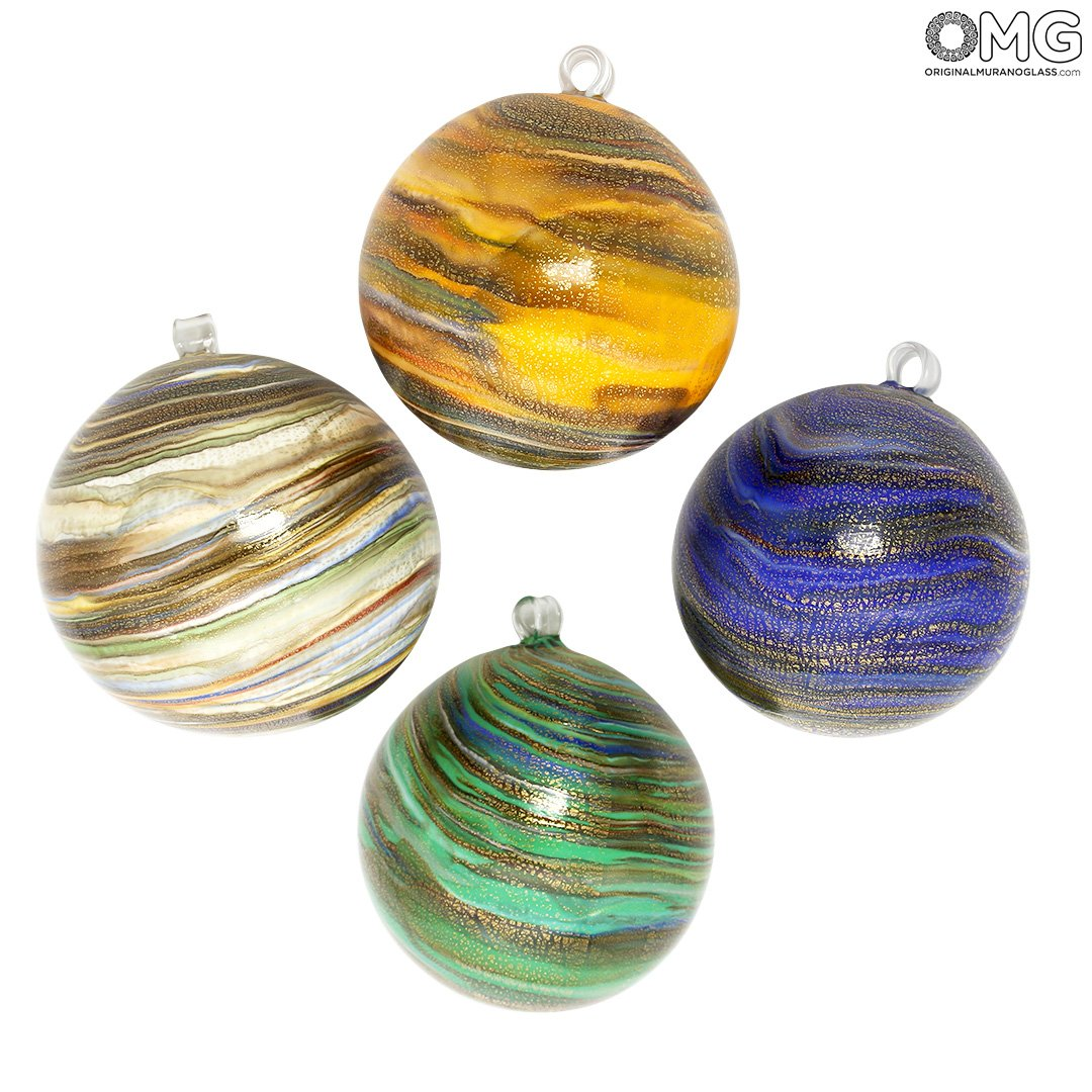Set of 4 Christmas Ball - Twisted Fantasy with Gold - Murano Glass Xmas