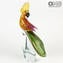Male Parrot Bird - Glass Sculpture - Original Murano Glass OMG