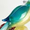 Parrots in Love - Green and Blue - Glass Sculpture